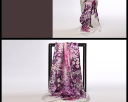 Luxusná hodvábna šatka s kvetinovým vzorom fialová