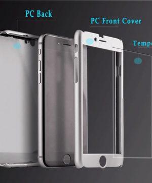 Obal z tvrdeného plastu so sklom na iPhone 6 / 6S vo viac farbách