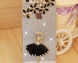 Obal z tvrdeného plastu so šperkom na iPhone 5 / 5S - baletka čierna