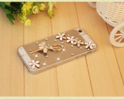 Obal z tvrdeného plastu so šperkom na iPhone 5 / 5S - baletka biela