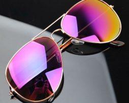 Polarizované slnečné okuliare - pilotky zlato-fialové