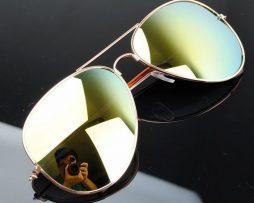 Polarizované slnečné okuliare - pilotky zlato-zelené