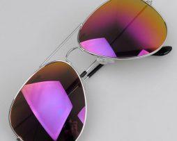 Polarizované slnečné okuliare - pilotky strieborno-fialové