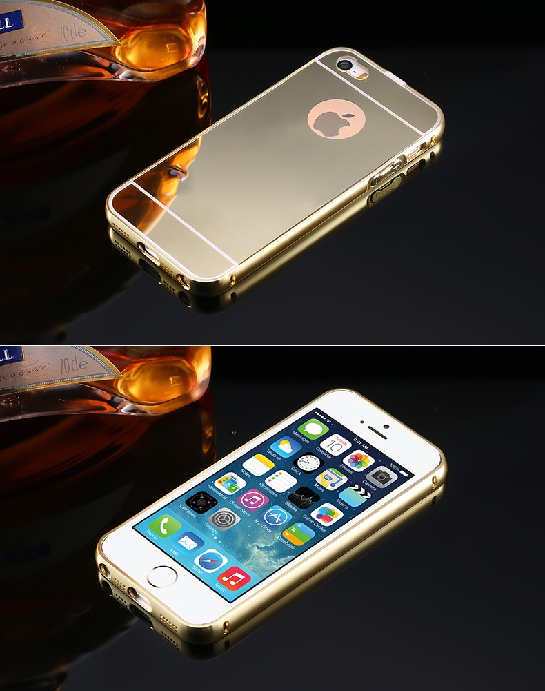 Luxusný zlatý zrkadlový obal na iPhone 5 + 5S 4dba072766d