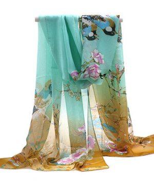 Elegantný šál s prírodným motívom v hnedo-zelenej farbe
