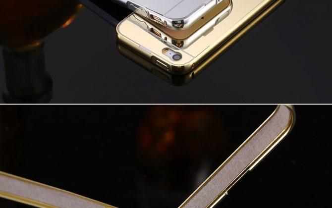 Luxusný zlatý zrkadlový obal na iPhone 5 + 5S, 6 + 6S, 6 Plus