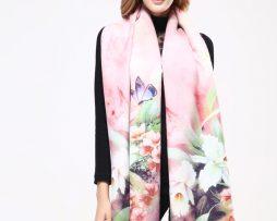 Ručne tkaný šál z kašmíru s motívom kvetov model 02