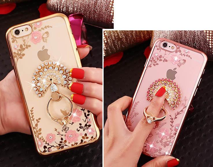 Silikónový obal so šperkom na iPhone 6plus   6Splus - páv s prsteňom 0a298322178