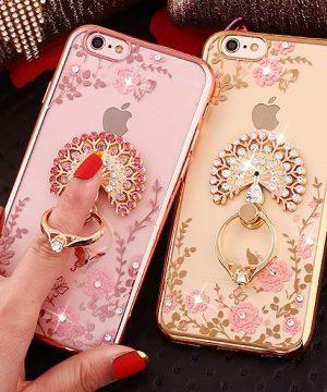 Silikónový obal so šperkom na iPhone 6plus / 6Splus - páv s prsteňom