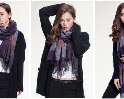 Ručne tkaný kašmírovo - bavlnený šál - vzor 06