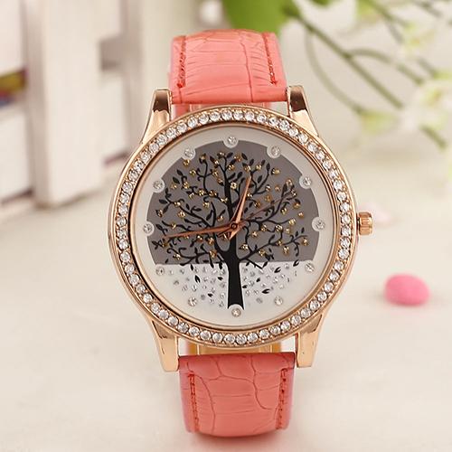 Luxusné dámske hodinky s kryštálovým stromom s ružovým remienkom ... 4dda5c7ac40