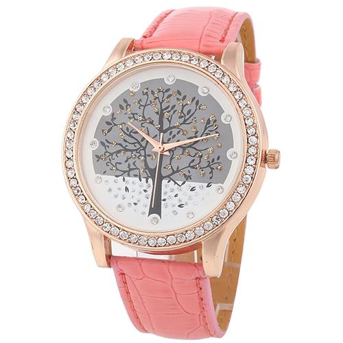 Luxusné dámske hodinky s kryštálovým stromom s ružovým remienkom ... 631b1202ec5