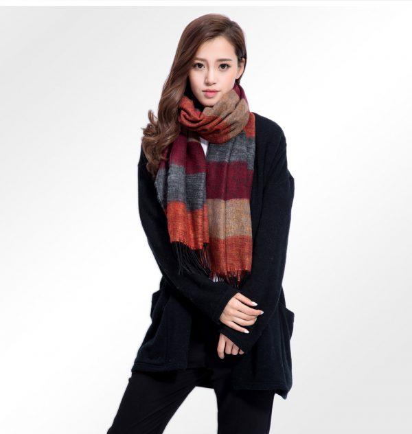 Ručne tkaný kašmírovo - bavlnený šál - vzor 01