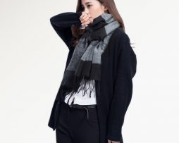 Ručne tkaný kašmírovo - bavlnený šál - vzor 02