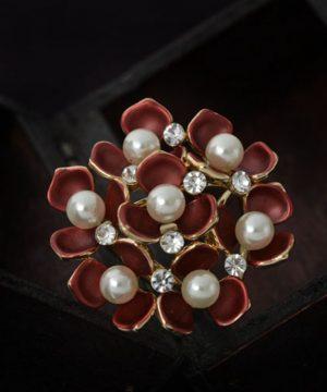 Prsteň na šatku – kytica bordových kvetov