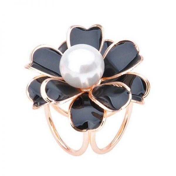 Prsteň na šatku – Biela perla - Čierno-zlatá