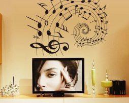 Kvalitná nálepka na stenu z PVC - MUSIC - 60 x 80 cm
