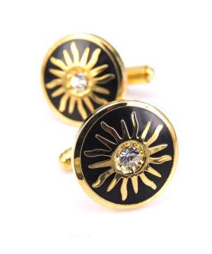 Luxusné zlaté manžety v kruhovom tvare s kryštáľom