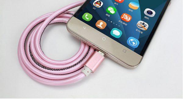 Dátový kábel pre zariadenia IOS-Iphone 5,5S,6,6PLUS, v koži - 1m