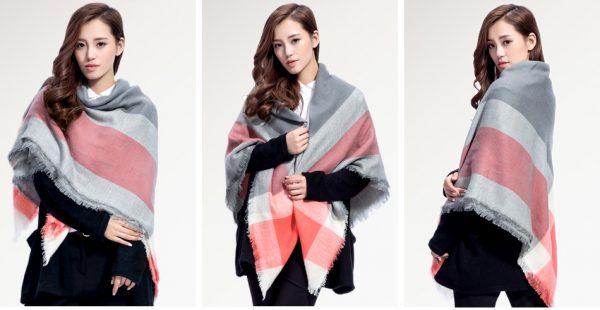 Veľký ručne tkaný kašmírový a bavlnený šál - model 03
