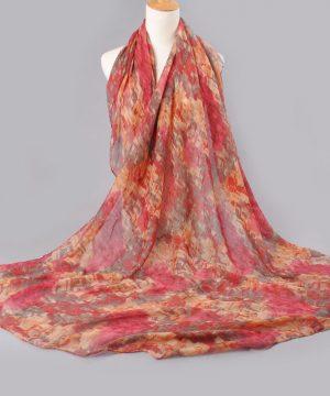 Elegantný šál s abstraktným motívom v červených farbách