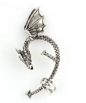 Prepracovaná náušnica v tvare ovinutého draka