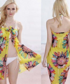 Letný závoj na telo, šatka na plavky - kvety 01