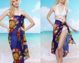Letný závoj na telo, šatka na plavky - kvety modré