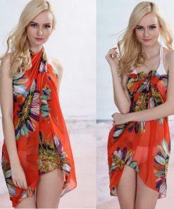 Letný závoj na telo, šatka na plavky - kvety pomarančové