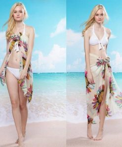 Letný závoj na telo, šatka na plavky - kvety biele