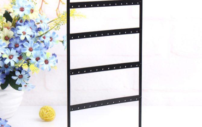 Luxusný kovový stojan na náušnice - 48 dier, čierny