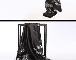 Luxusná hodvábna šatka s kvetinovým vzorom čierna