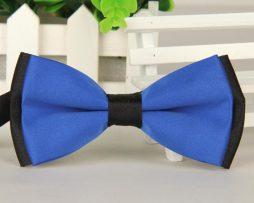 Luxusný spoločenský motýlik modro - čiernej farbe