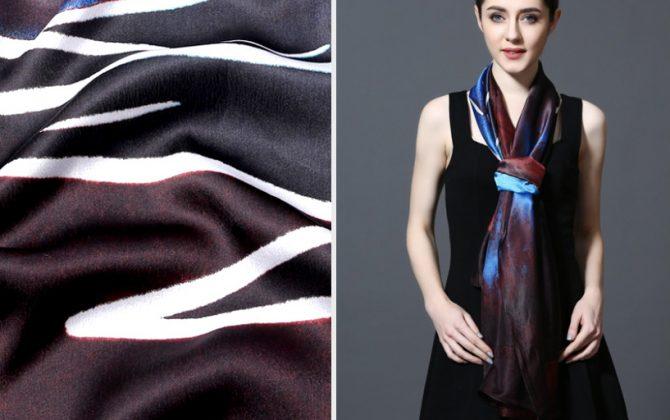Kvalitný šál zo 100% hodvábu 185 x 90 cm - leaf_04