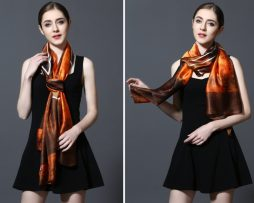 Kvalitný šál zo 100% hodvábu 185 x 90 cm - leaf_02