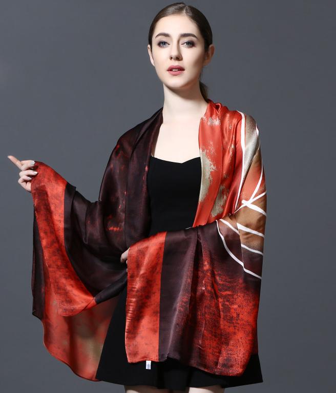 Kvalitný šál zo 100% hodvábu 185 x 90 cm - leaf_01