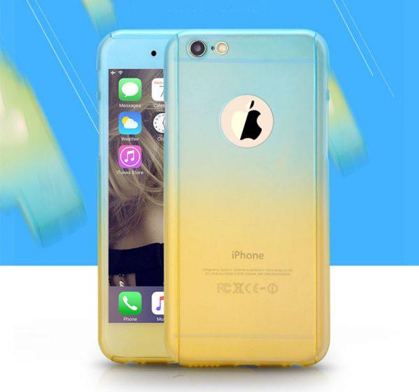 Obal z tvrdeného plastu so sklom na iPhone 6 / 6S v dúhových farbách