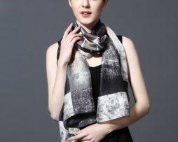 Kvalitný šál zo 100% hodvábu 185 x 90 cm - leaf_05