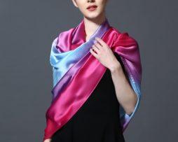Hodvábny šál v dúhových farbách 185 x 91 cm - art_05