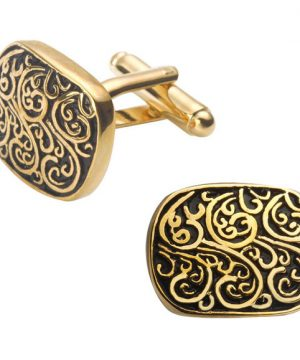 Luxusné zlato-čierne manžetové gombíky