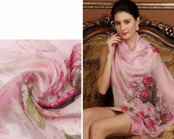 Exkluzívny veľký hodvábny šál v svetlo ružovej farbe