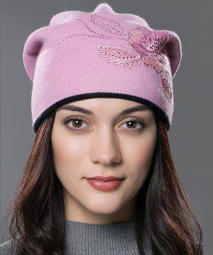 Čiapka so vzorom pre dámy z bavlny a kašmíru vo farbách