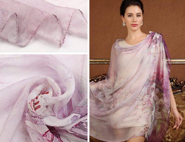 Exkluzívny veľký hodvábny šál v ružovo fialovej farbe