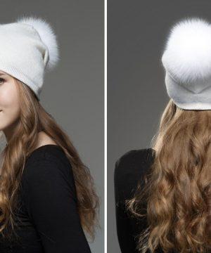 Dámska čiapka z kašmíru s brmbolcom z líšky