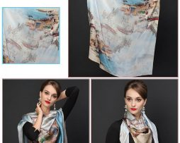 Veľká hodvábna šatka - 110 x 110 cm - Art_06