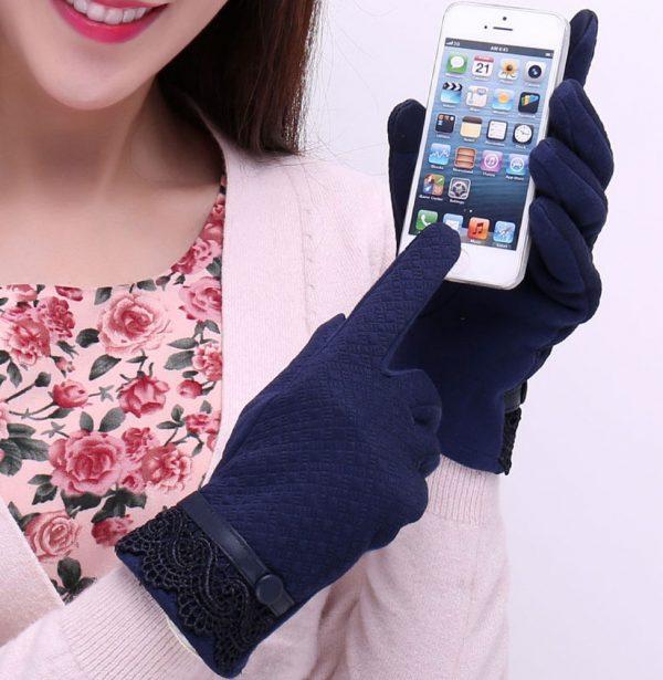 Dámske rukavice z bavlny na ovládanie telefónu