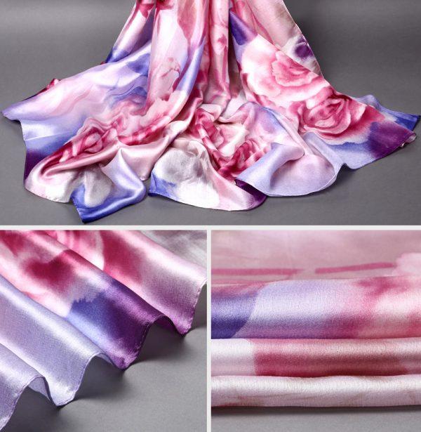 Moderný hodvábny šál rozmerov 175 x 90 cm - fialovo - ružový