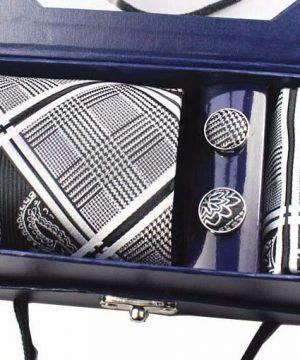 Kravatový set z hodvábu - viazanka + manžety + vreckovka - vzor05