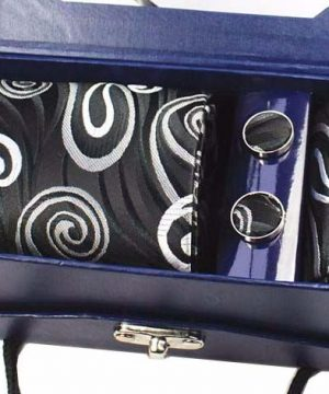 Kravatový set z hodvábu - viazanka + manžety + vreckovka - vzor06