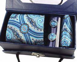 Kravatový set z hodvábu - viazanka + manžety + vreckovka - vzor09